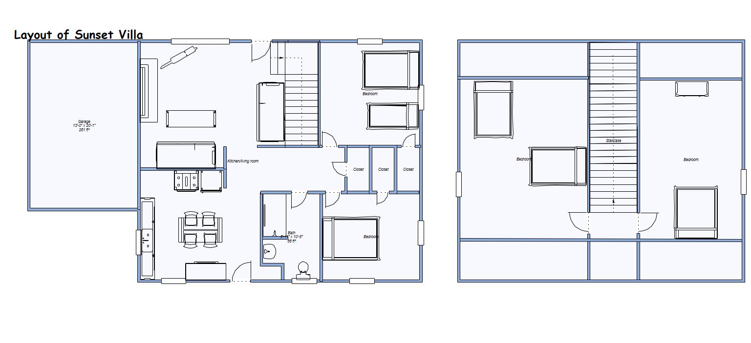 layout of Sunset Villa